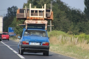 poor quality photo, but still: on the highway, moving house