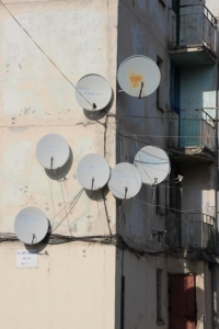 bunch of satelite dishes, outside one of the palatis
