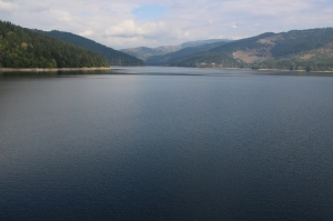 the Bicaz Lake, generating hydro-electricity behind a no-photos dam