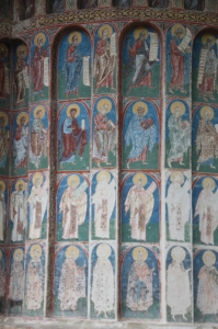 frescoes on the outside of the sanctuary