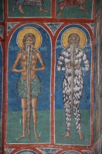 detail of frescoes with beards