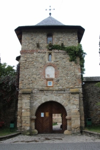 defense tower over the entrance to the Moldovita Monastery