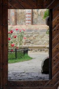 door in the entrance gate to the Moldovita Monastery