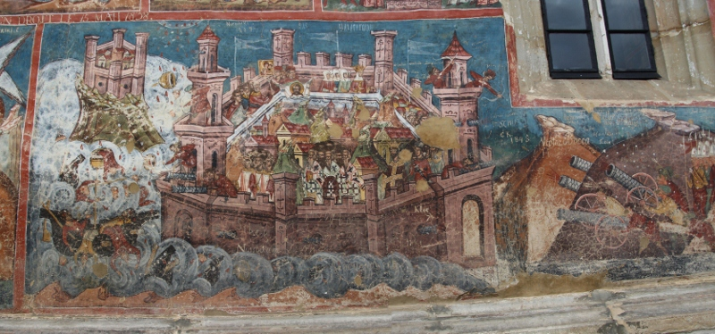 detail of the Siege of Constantinople, with a focus on the city itself