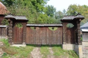 elaborate wooden gate