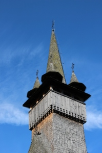 the steeple of the church