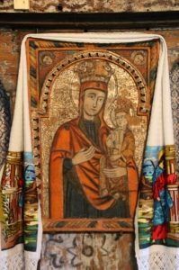 icon, decorated and draped with a cloth