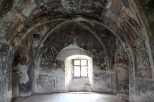 frescoes inside a chapel built in the defense wall of Harman