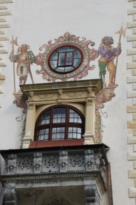 outside wall decorations on the tower