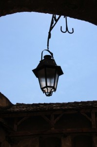 street lamp in Sighisoara, one of the German settlement cities in Transylvania from the 12th Century
