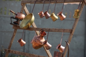 Caldarari copper work for sale along the road, near Medias