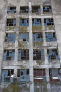 factory building, broken windows