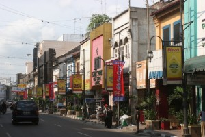 the main shopping stret, downtown Medan