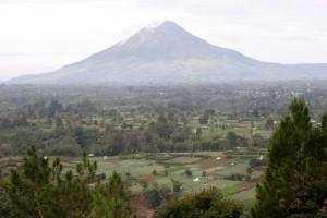 cone-shaped Gunung Sinabung outside Berestagi