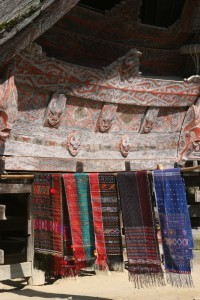 the ulos, locally woven cloths, on display