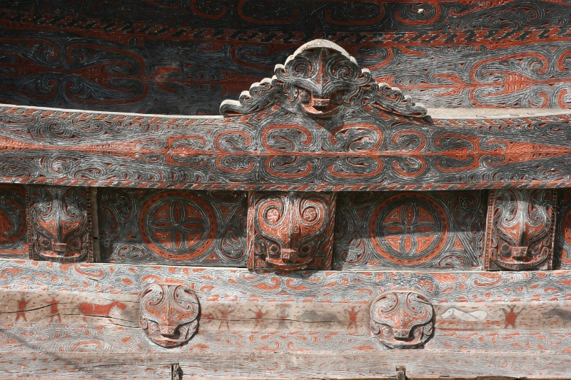 the beams of the houses are intricately decorated