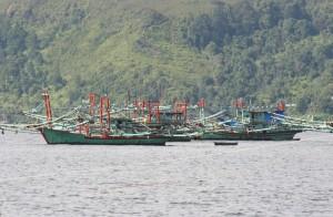 a range of fishing vessles offshore Sibolga