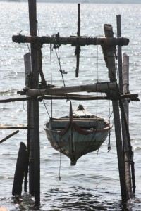 canoe in the ropes in one of the fishing communities of Sibolga