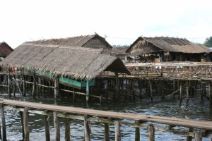 covered boat house, also on stilts in Sibolga