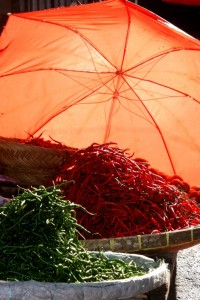 red and green peppers in the market of Bukettinggi