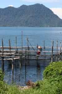 fisherman clearing his nets on Danau Maninjau