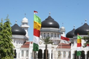 often the outside is decorated with colourful flags