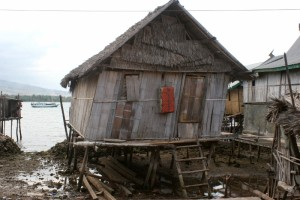 one of the village houses, at low tide