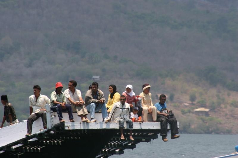 ferry arriving in Larantuka