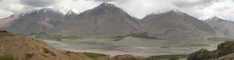 the Panj River, with Afghanistan on the other side, and Yamchum castle on the left