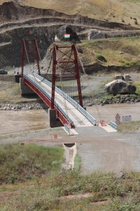 one of the new bridges connecting Tajikistan and Afghanistan - not a lot of traffic, yet