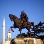 statue of Skanderbeg in Tirana