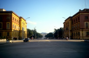 Avenue of the Martyrs, the main boulevard in Tirana
