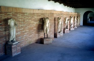 inside the gallery, some of the museum's larger statues remain