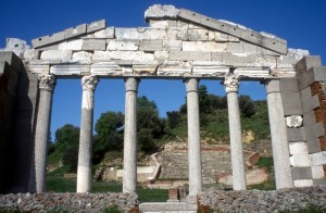 the marble pillars of the restored facade of the bouleuterion