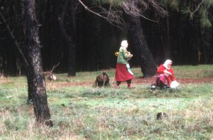 Albanian women in a forest in the north