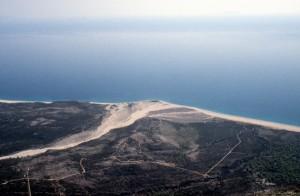 a small delta reaching the sea near Llogara