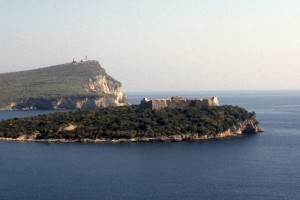 Crusader fort on a island off the Himara coast