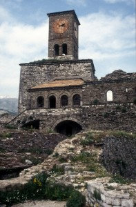 the clock tower of the old citadel of Gjirokaster