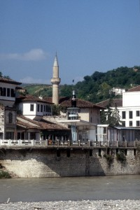 the old mosque, next to a modern Coca Cola bottle: advertising has reached Berat