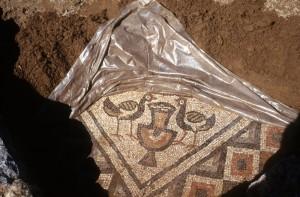 bright mosaics in the Lin basilica