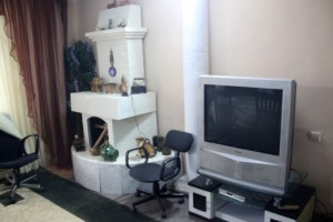 inside the palati, fake fire place and real television