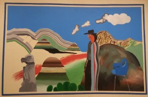 """""""Rocky Mountains and Tired Indians"""", acrylic on canvas (1968) - David Hockney"""