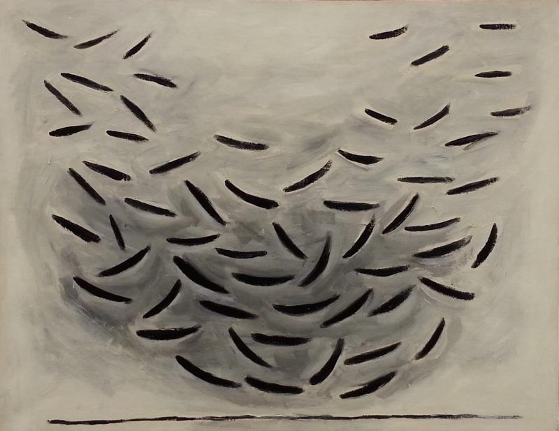 """Untitled (Aquarium)"", oil on canvas painting by William Turnbull"