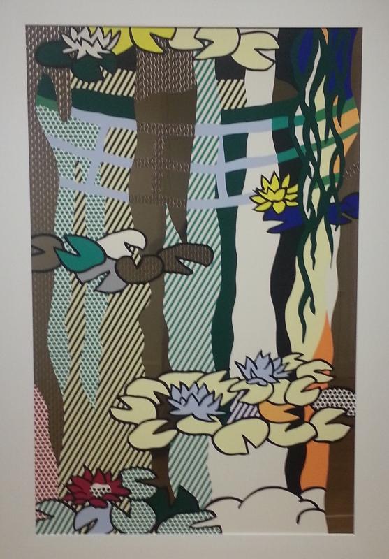 """Water Lilies with Japanese Bridge"", screenprinted enamel on stainless steel - Roy Lichtenstein"