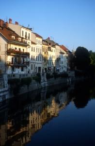 elegant houses along the river in Ljubljana