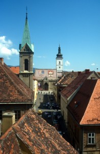 church and square in central Zagreb