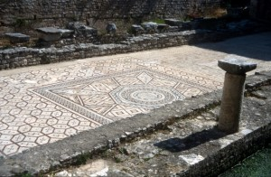 Roman mosaics in the courtyard outside the Basilica
