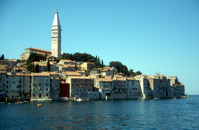 view of Rovinj across the water