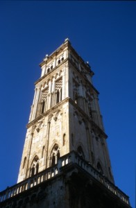 a church tower in one of the Dalmatian towns