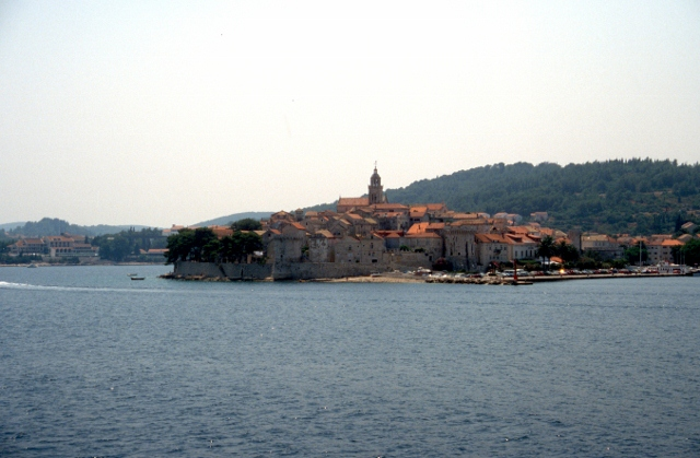 appraoch of Korcula town, view from the ferry